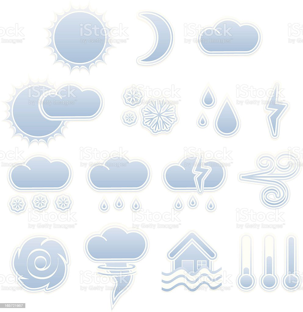 Weather Icons Set - Sky Blue and White vector art illustration