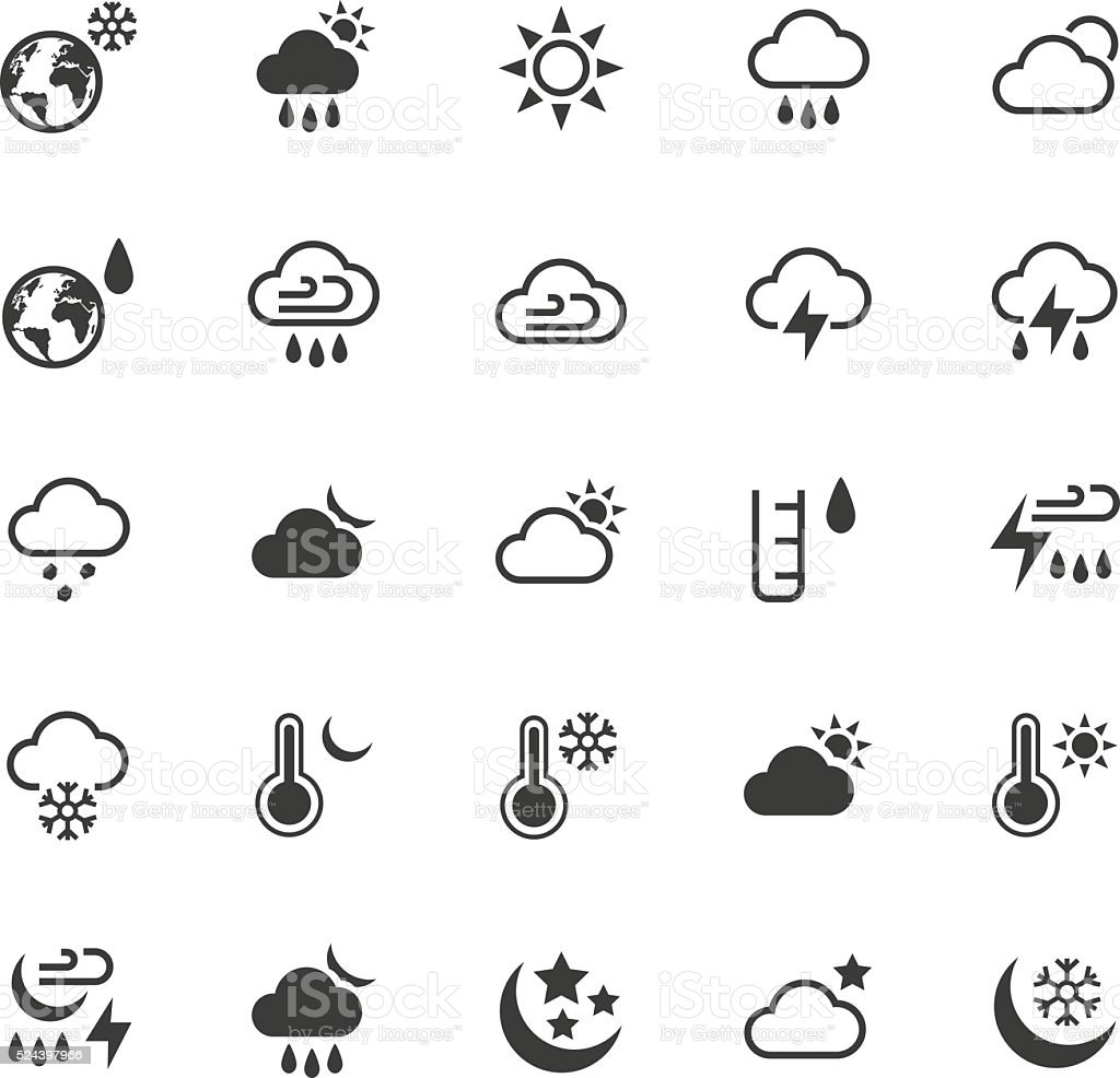 Weather icons set vector art illustration