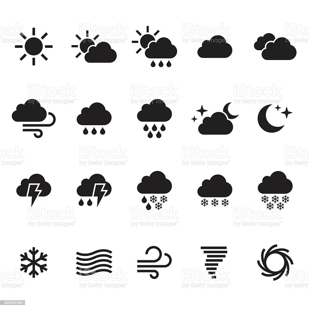 Weather icons set. Vector vector art illustration