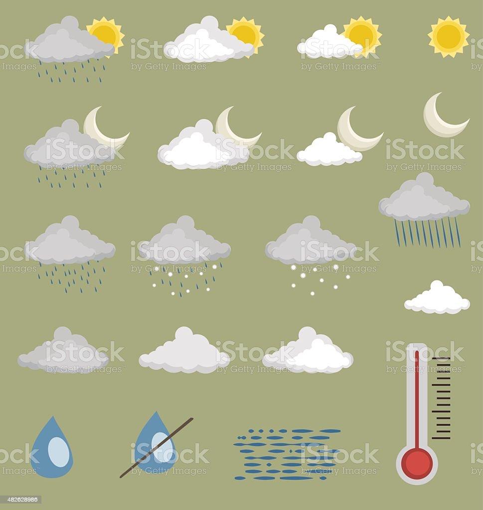 weather icons, symbols vector art illustration