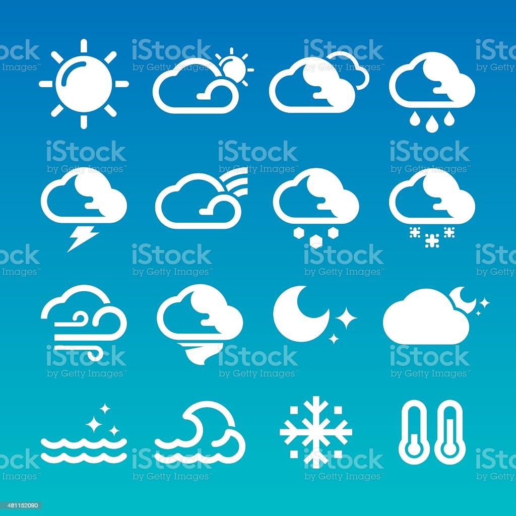 Weather Icons (White/Blue) vector art illustration