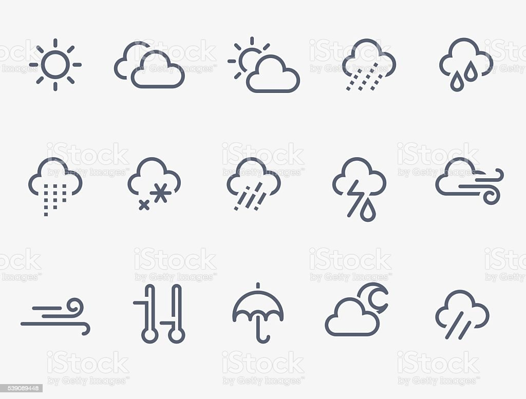 weather icons vector art illustration