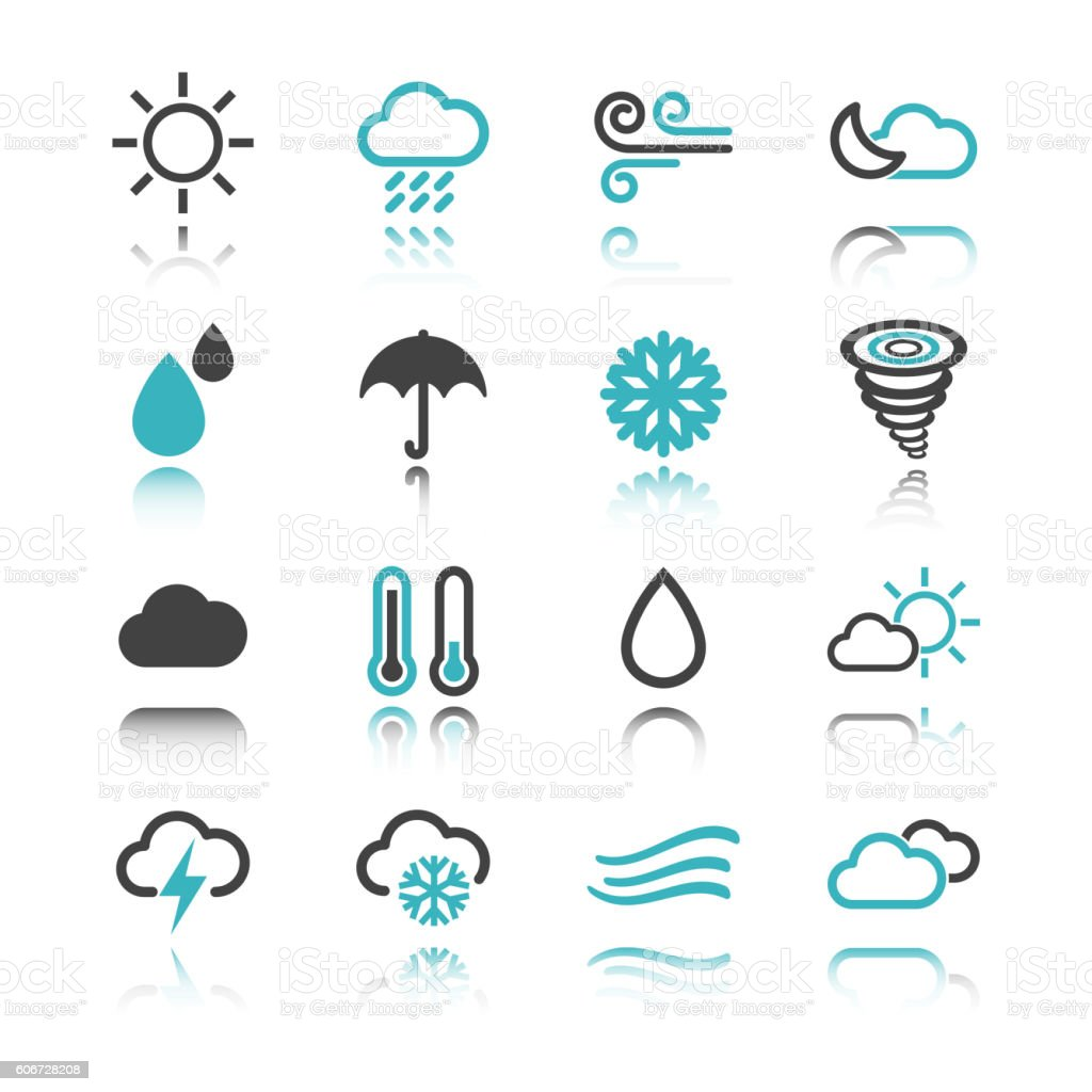 weather icons with reflection vector art illustration