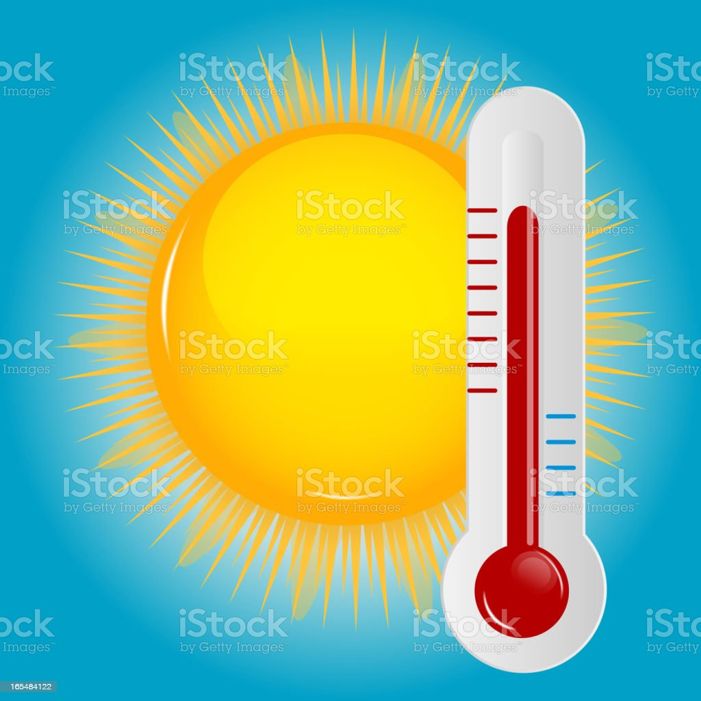 Weather Icons with sun and thermometer vector art illustration
