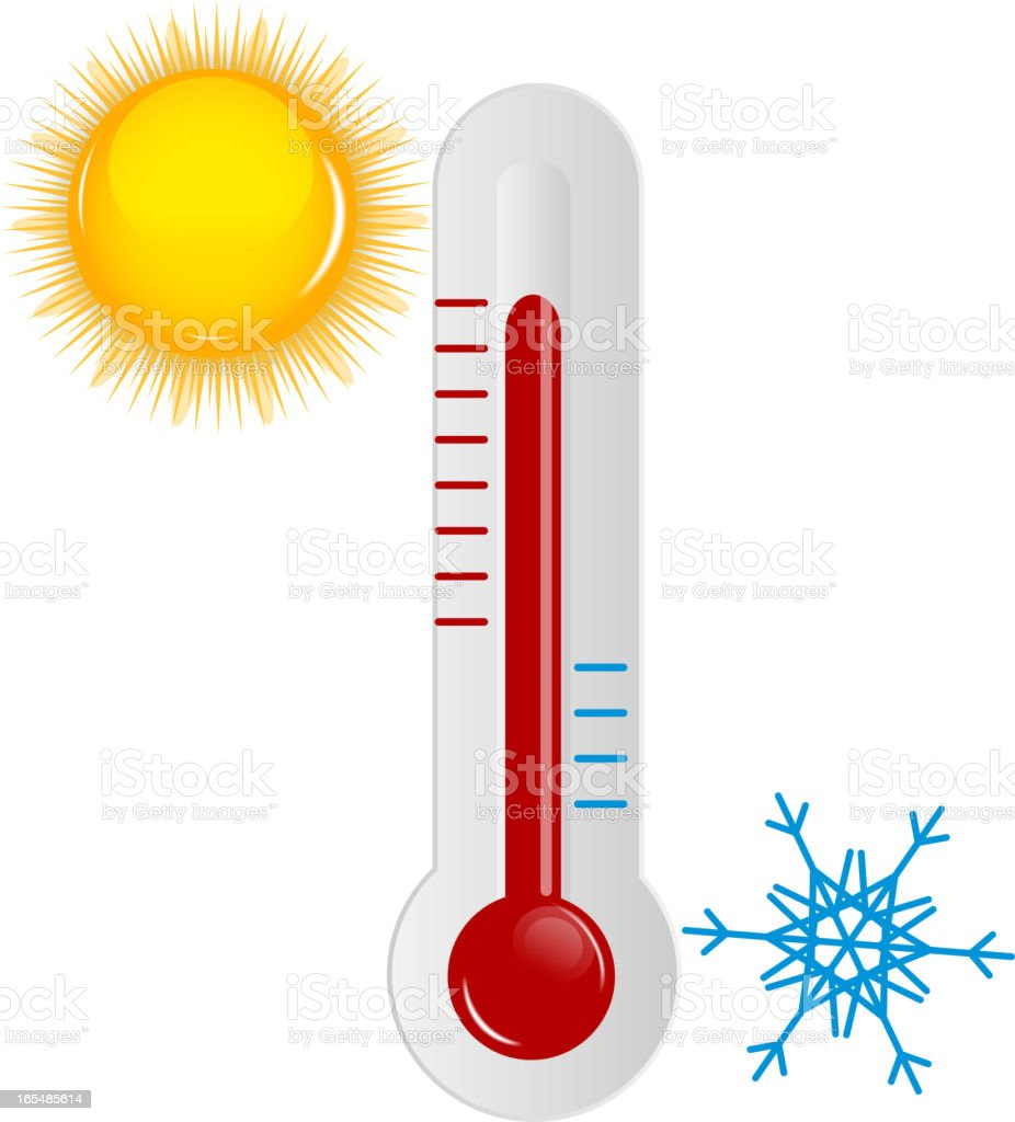 Weather Icons with sun, snowflake and thermometer royalty-free stock vector art