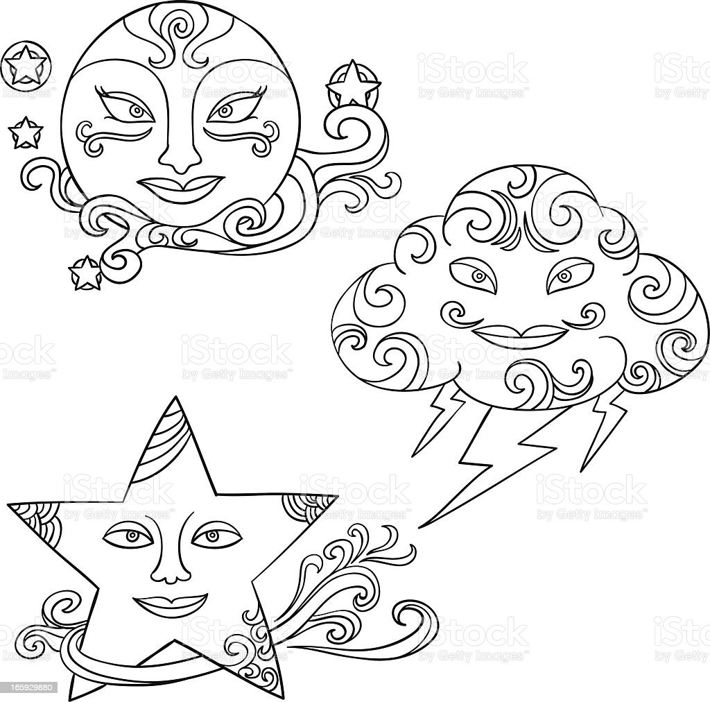 Weather illustration in black and white royalty-free stock vector art