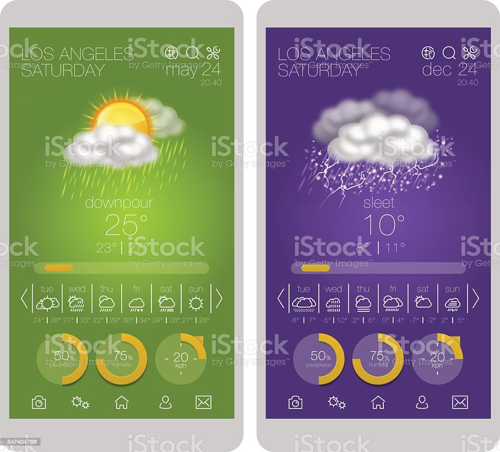 Weather interface and icon set on smartphone vector art illustration