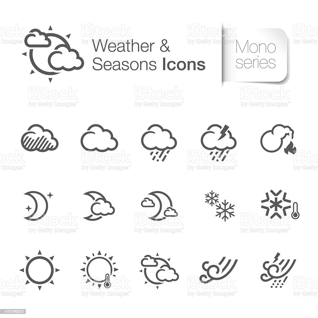 Weather related icons mono royalty-free stock vector art