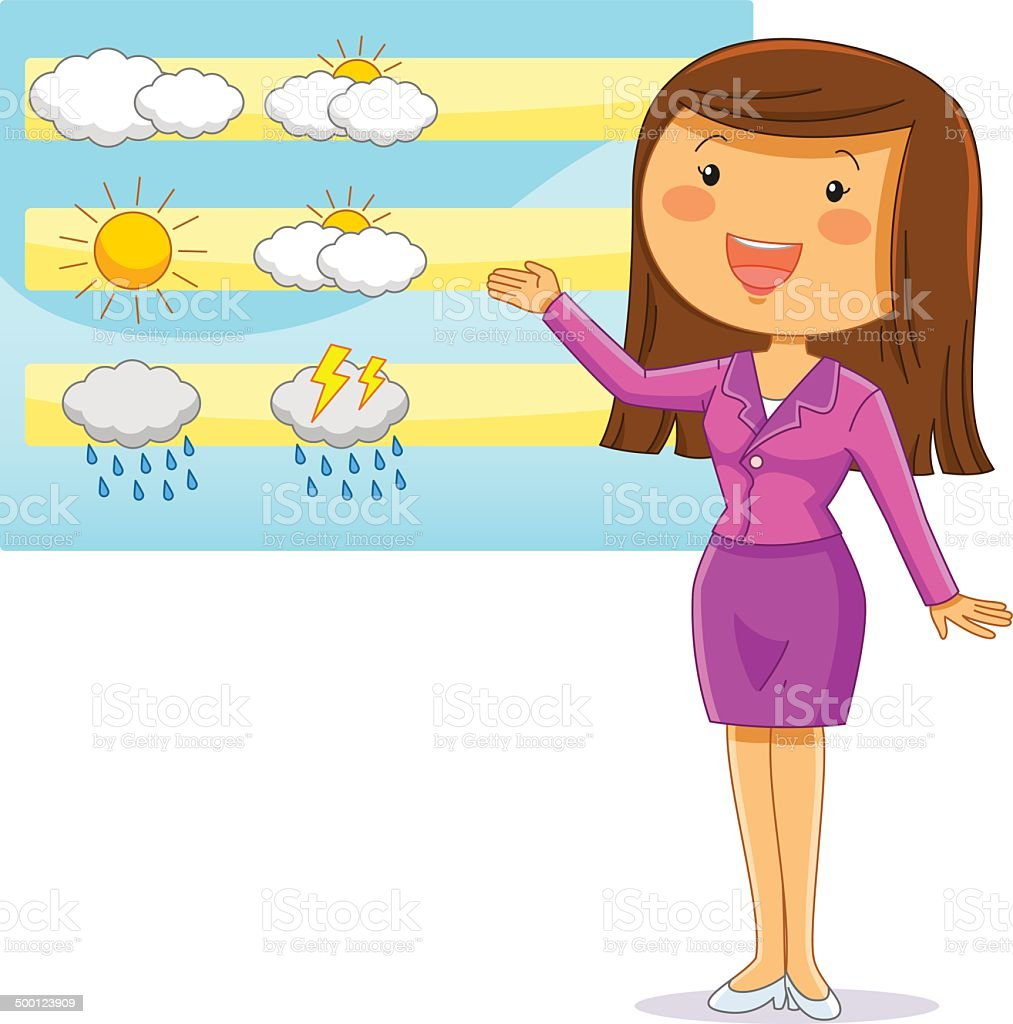 weather reporter vector art illustration