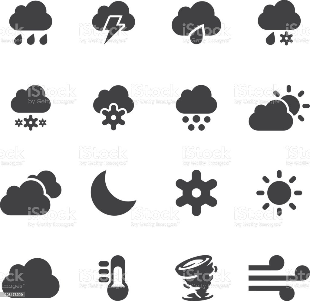 Weather Silhouette icons 2   EPS10 vector art illustration