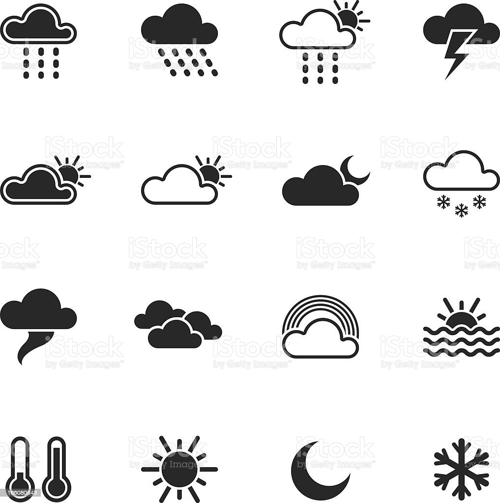 Weather Silhouette Icons royalty-free stock vector art