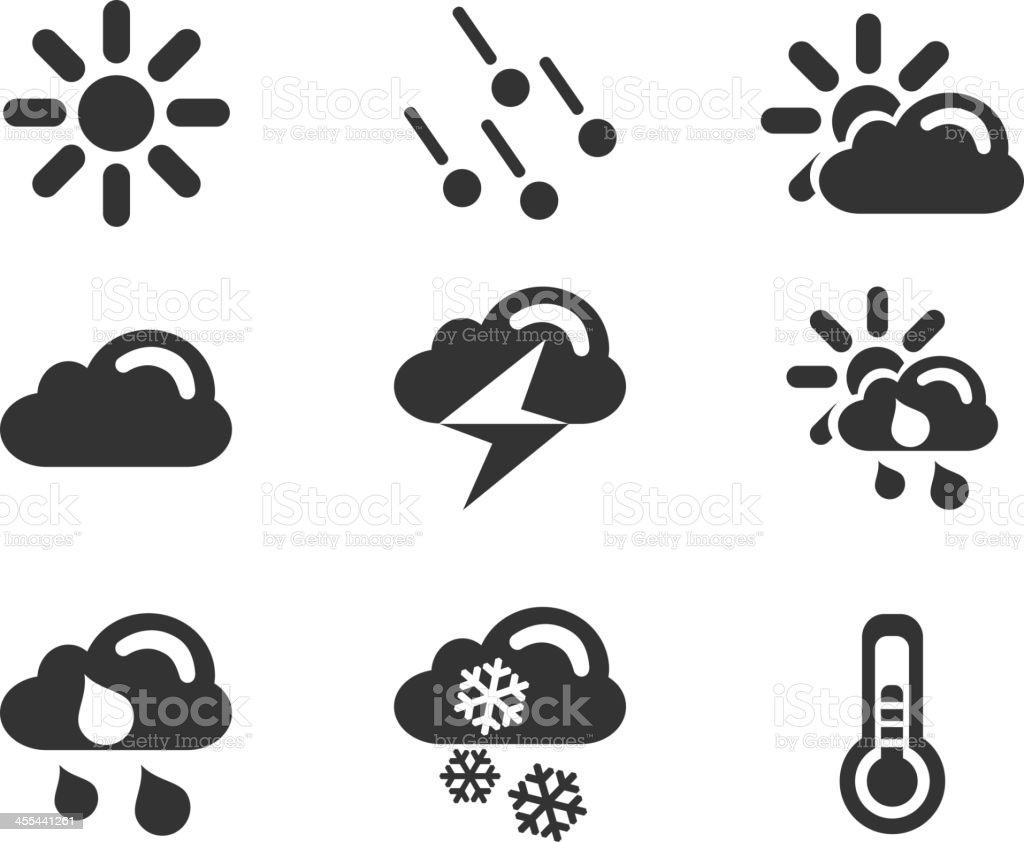 Weather simple vector icons vector art illustration