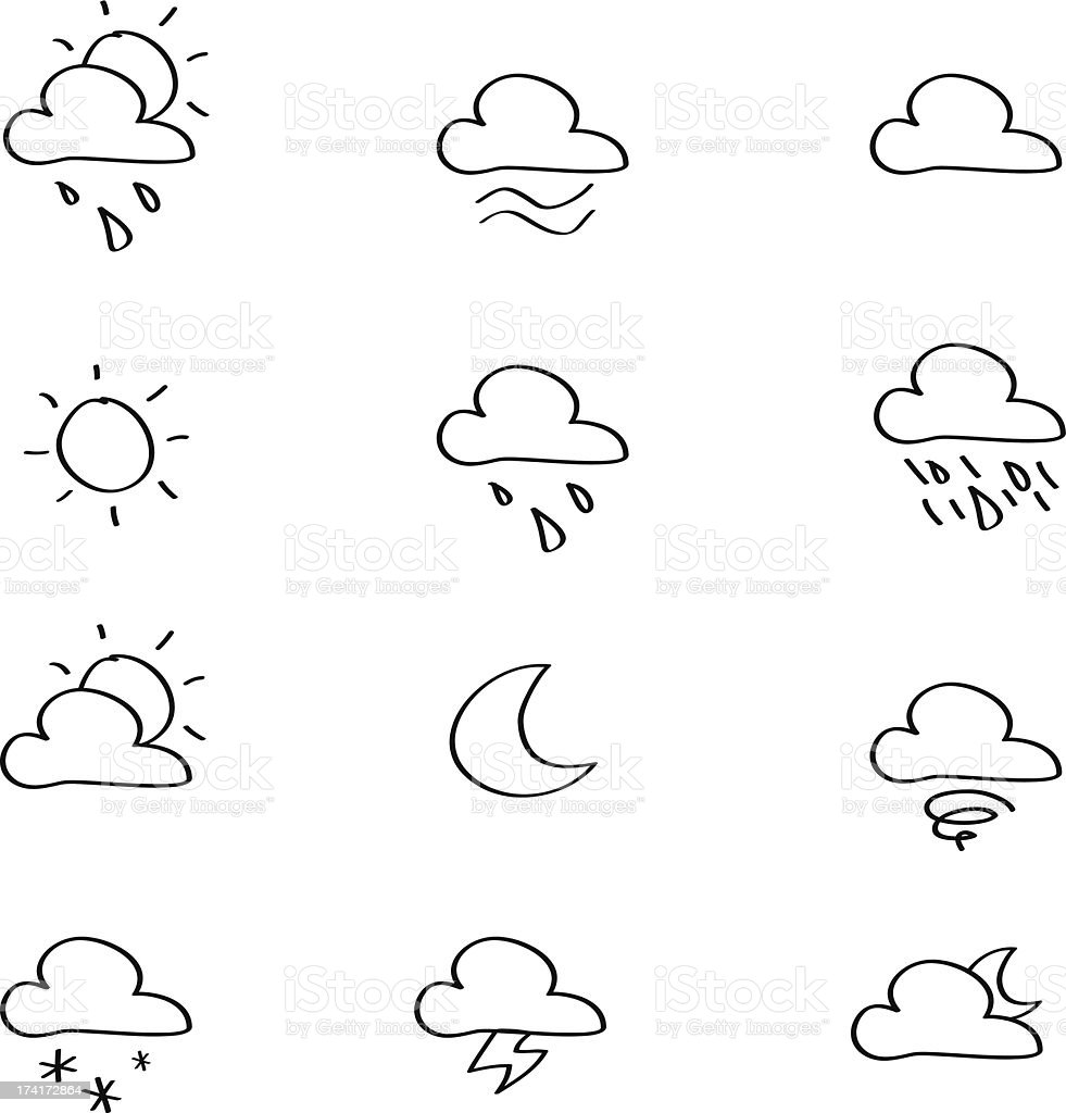 Weather Sketches iconset royalty-free stock vector art