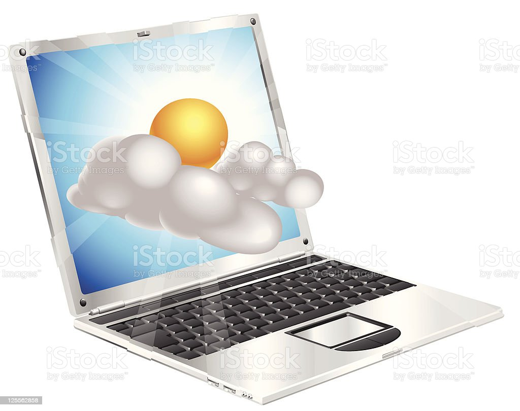 Weather sun and cloud icon  laptop concept vector art illustration