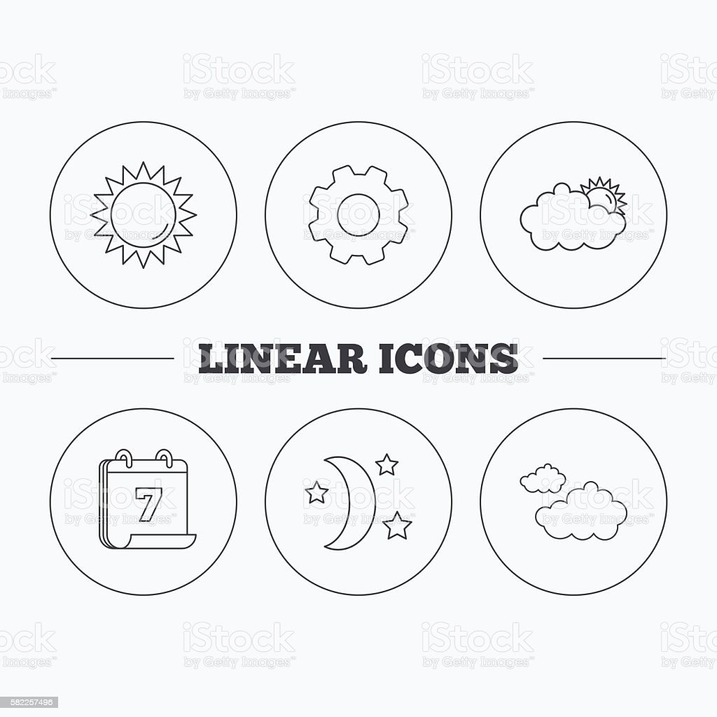 Weather, sun and cloudy icons. vector art illustration