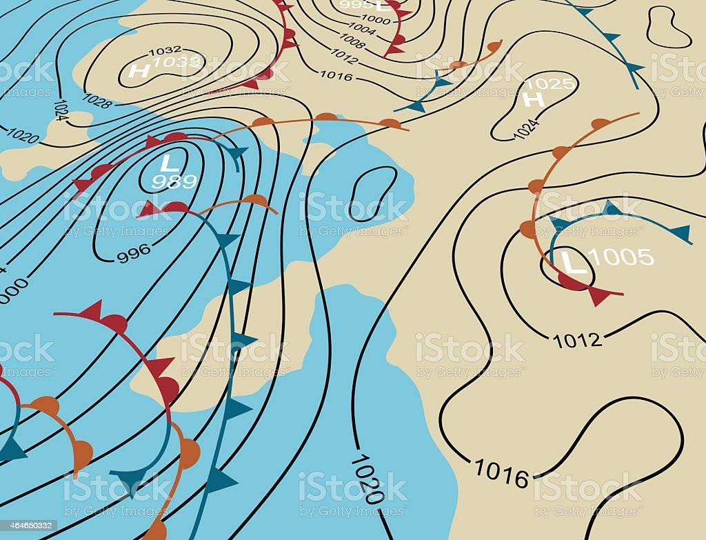 Weather system map vector art illustration