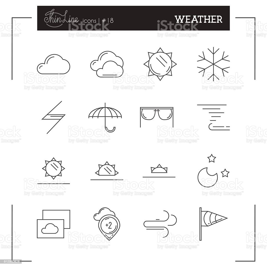 Weather, Temperature and more thin line icons set vector art illustration