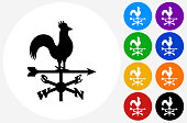 Weather Vane Icon on Flat Color Circle Buttons