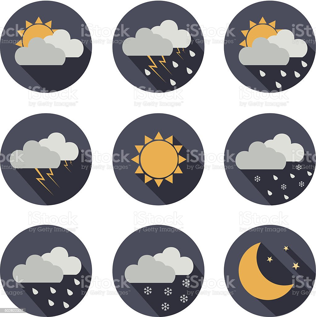weather vector icons. flat design vector art illustration
