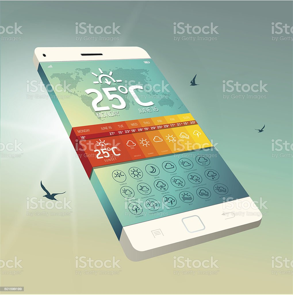 Weather Widget Symbols and Interface royalty-free stock vector art
