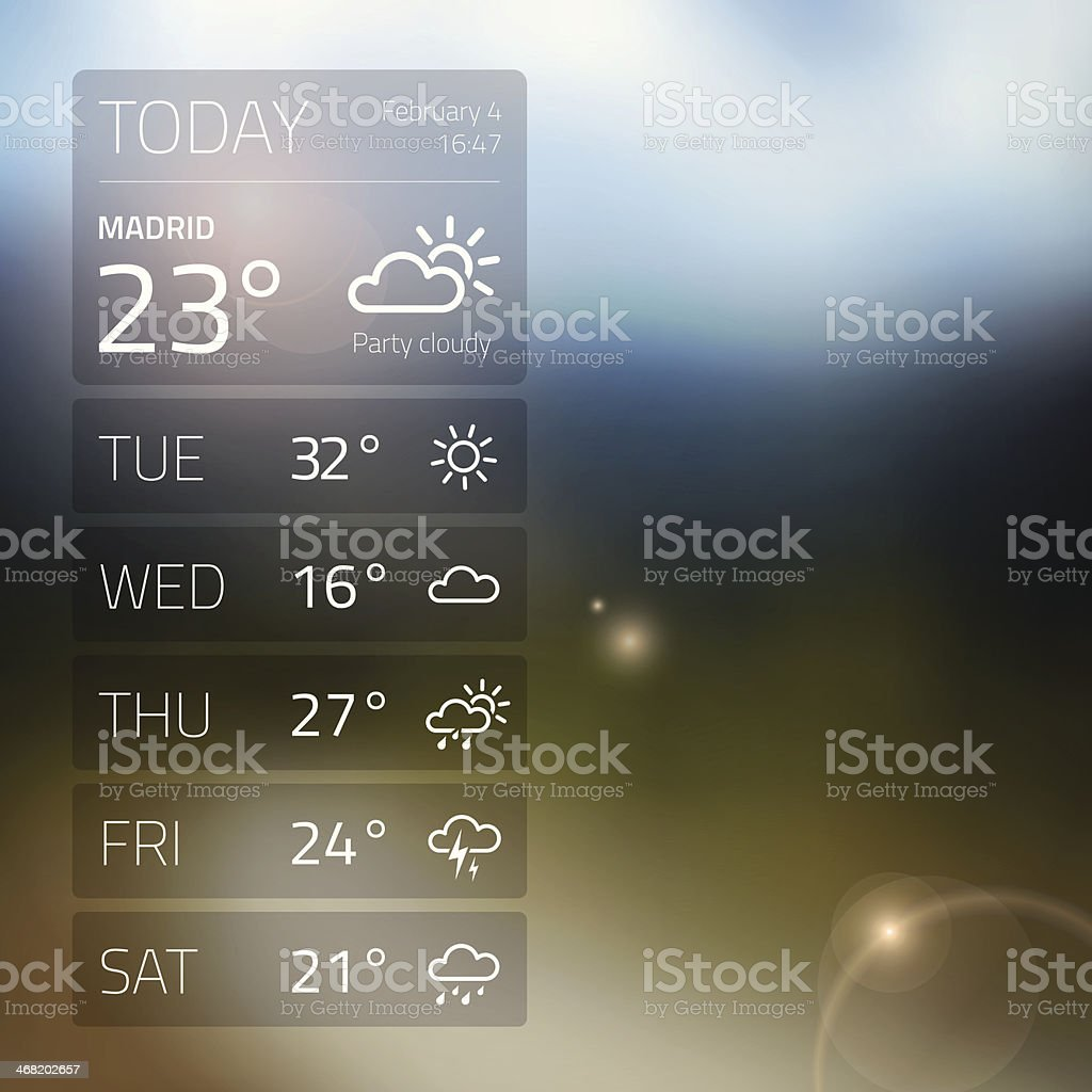 Weather widget template on blured background vector art illustration