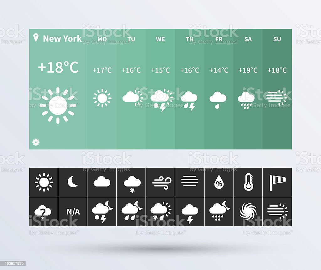 Weather Widget UI set of the flat design trend. vector art illustration