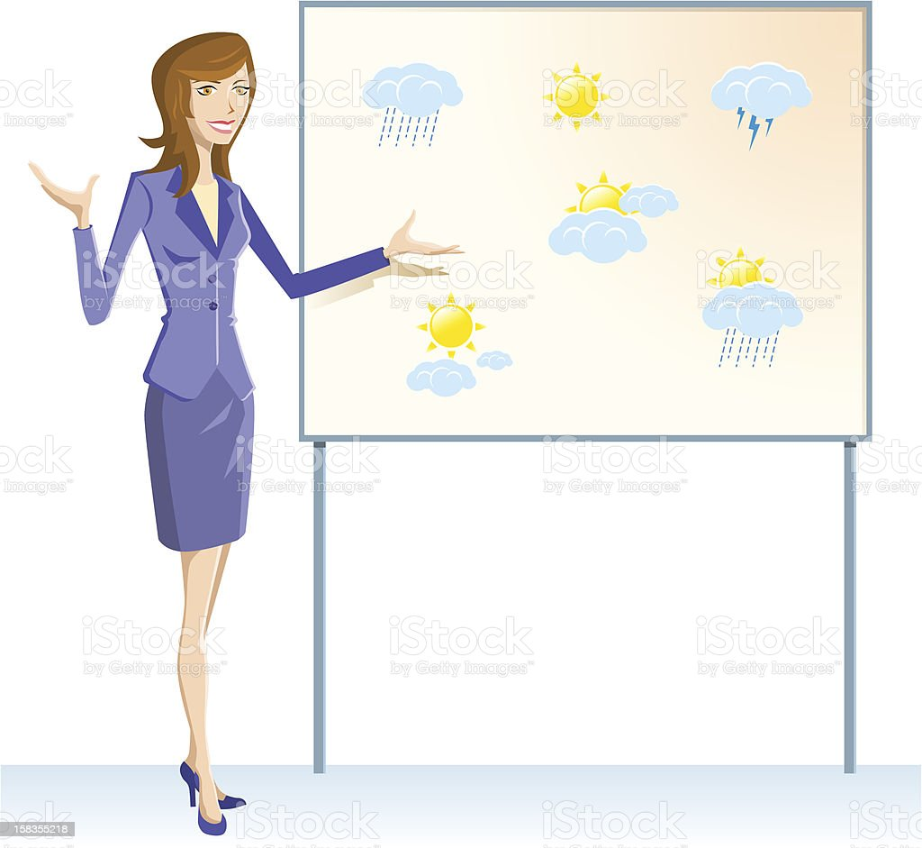 Weather woman with board vector art illustration
