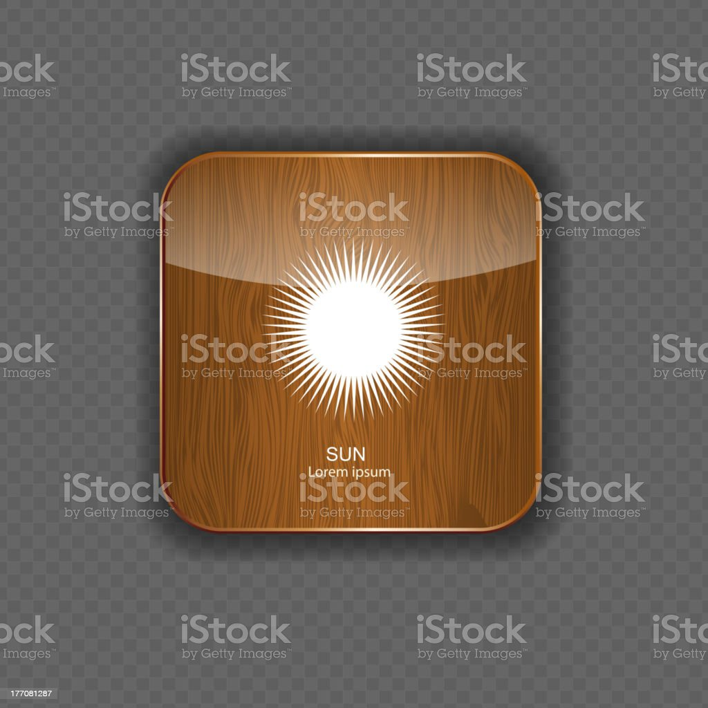Weather wood application icons royalty-free stock vector art