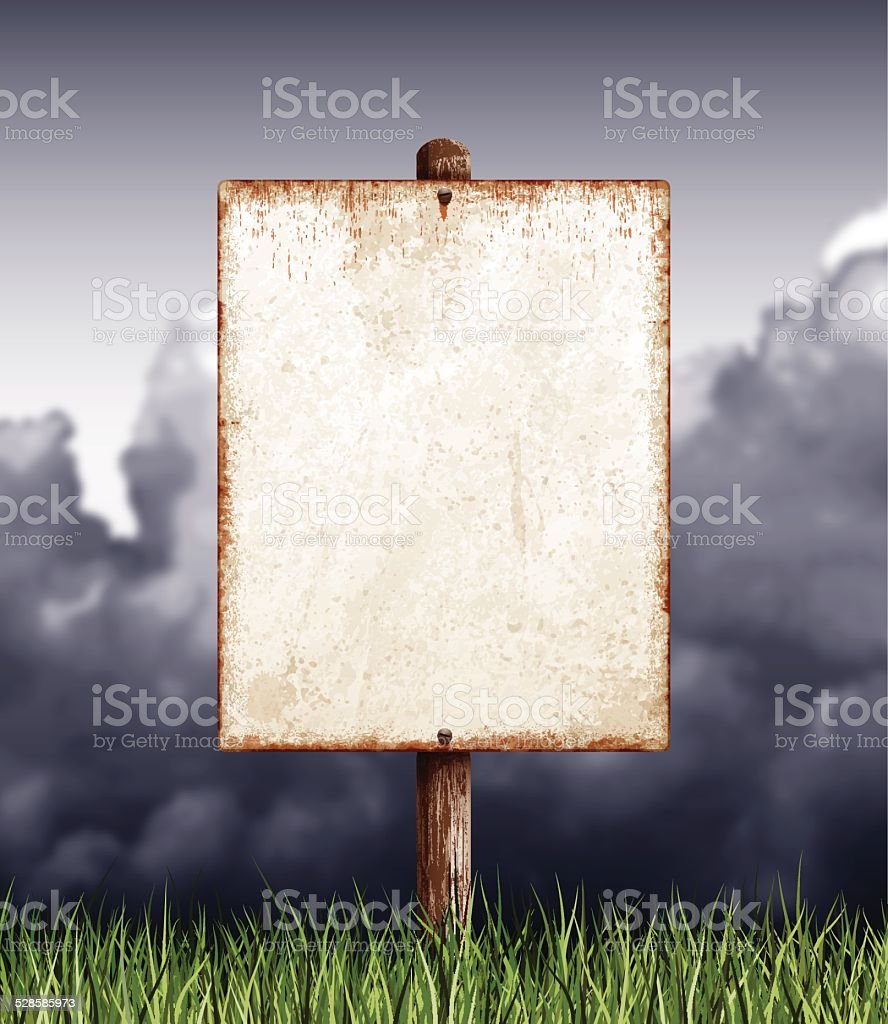 Weathered blank placard with wooden post, field and clouds vector art illustration