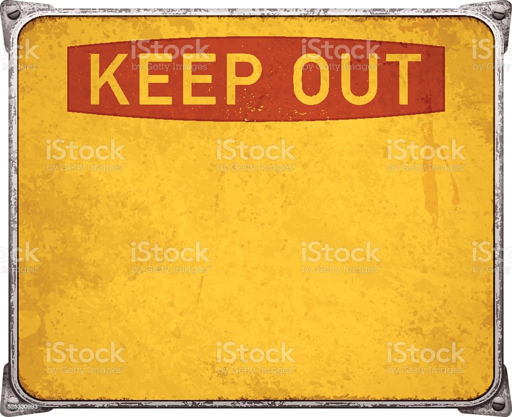 Weathered keep out metal placard with corners and screws_vector vector art illustration