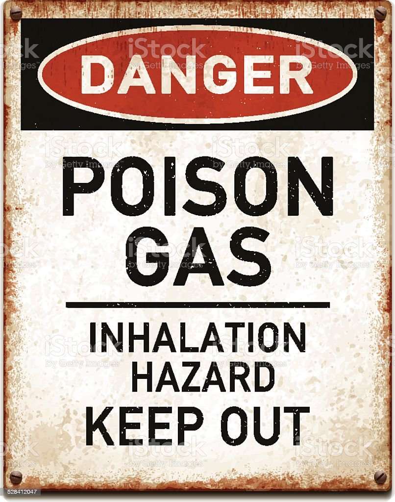 Weathered metallic placard with danger poison gas warning_vector vector art illustration