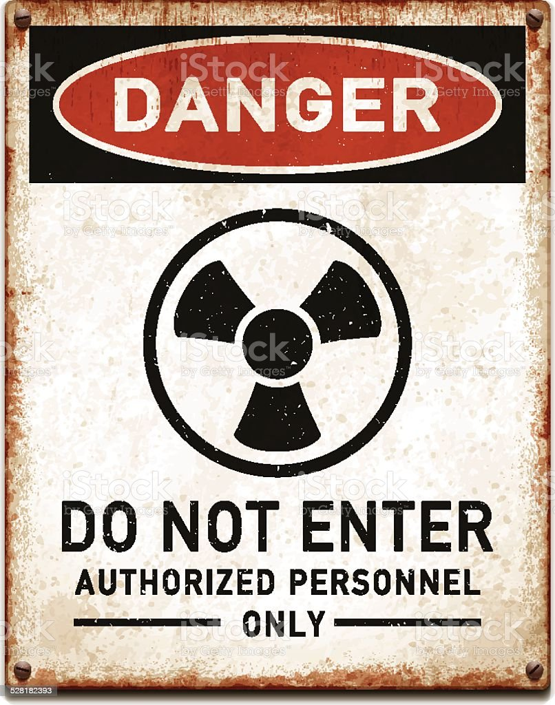 Weathered metallic placard with danger radioactive trefoil symbol_vector vector art illustration