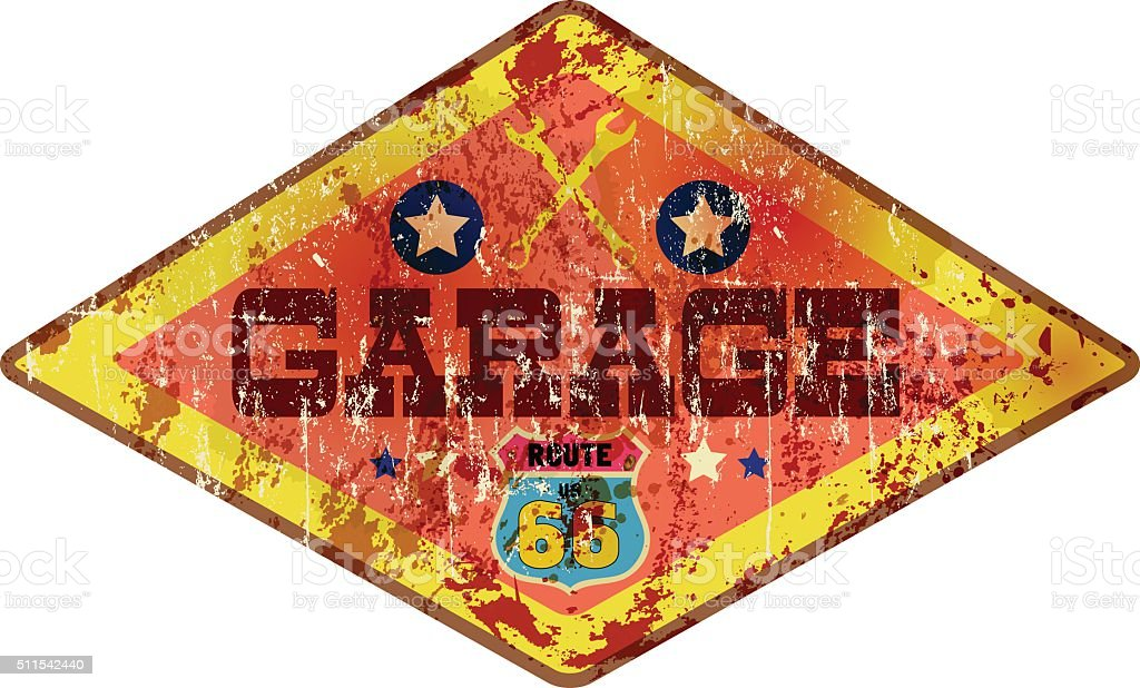 weathered retro garage route 66 sign vector art illustration