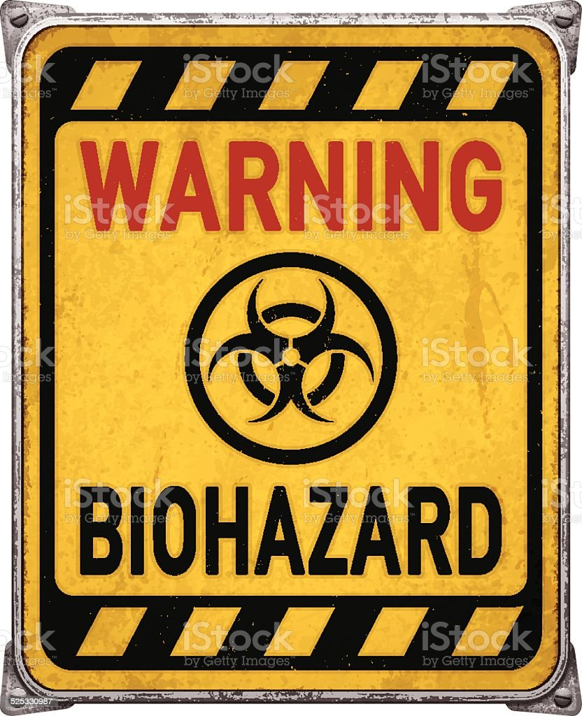 Weathered yellow warning metal placard with biohazard symbol_vector vector art illustration