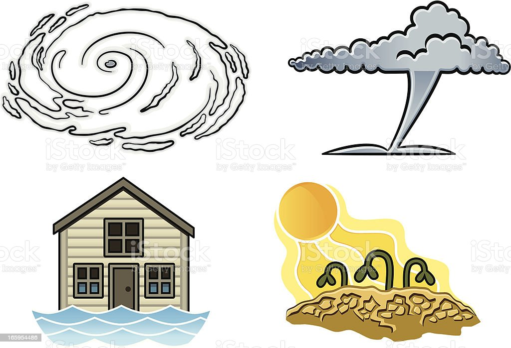 Weather-Related Natural Disasters vector art illustration