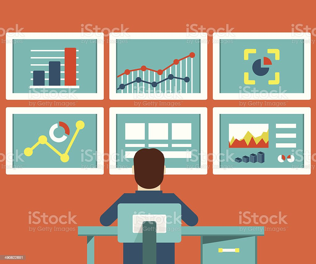 Web analytics information and development website statistic vector art illustration