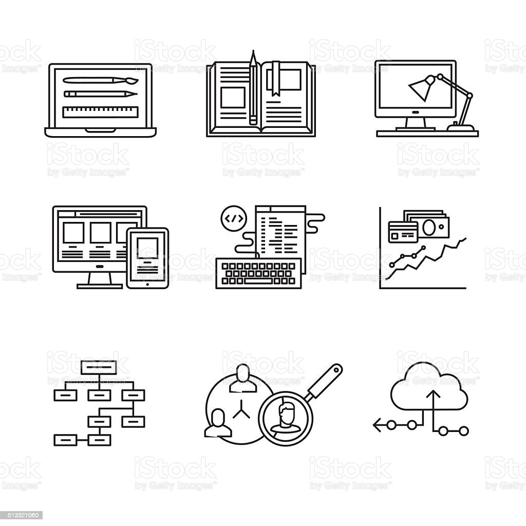 Web and app development, programming vector art illustration