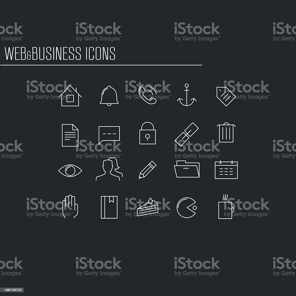 Web and business minimalistic icons, set 1 vector art illustration