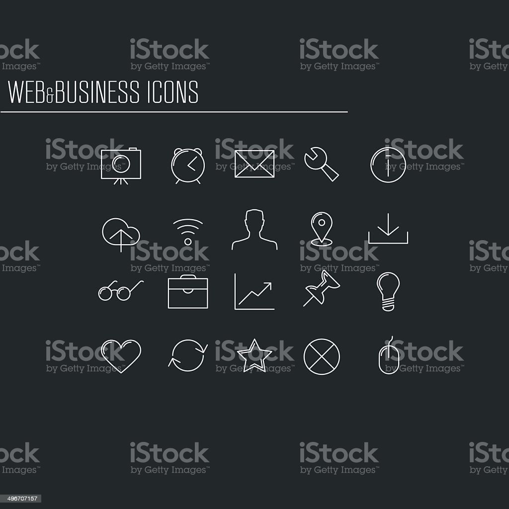 Web and business minimalistic icons, set 2 vector art illustration