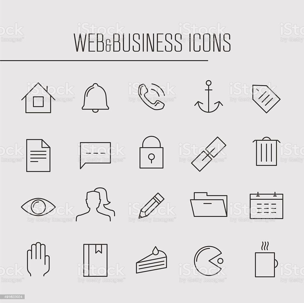 Web and business thin line, set 1 vector art illustration