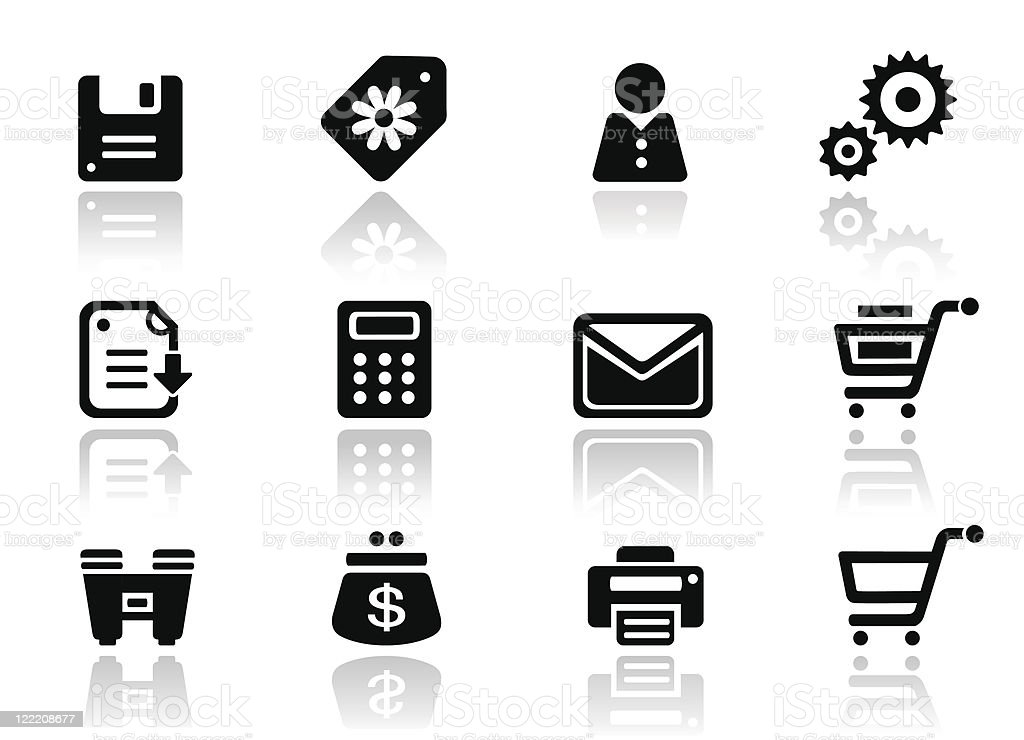 Web and commercial black icons royalty-free stock vector art