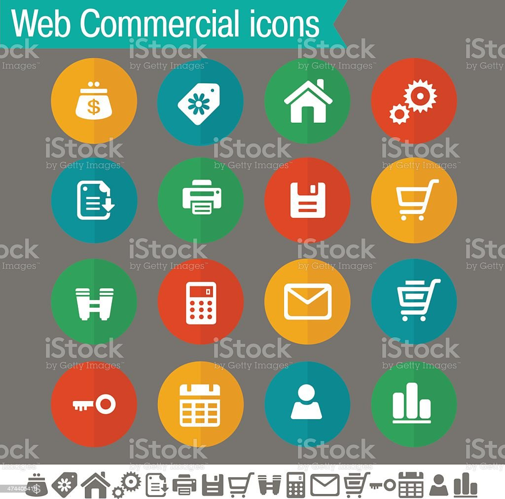 Web and commercial icons | Flat colored circles collection vector art illustration