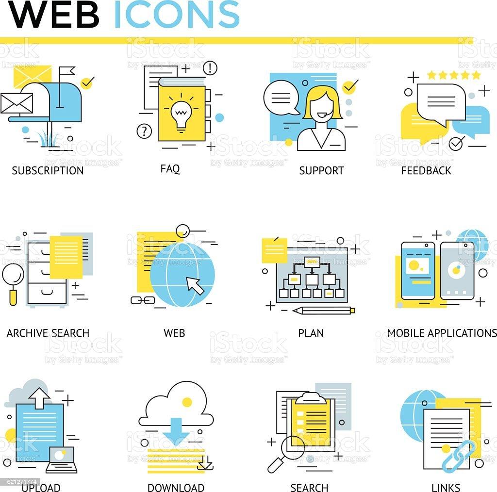 Web and custom management icons. vector art illustration
