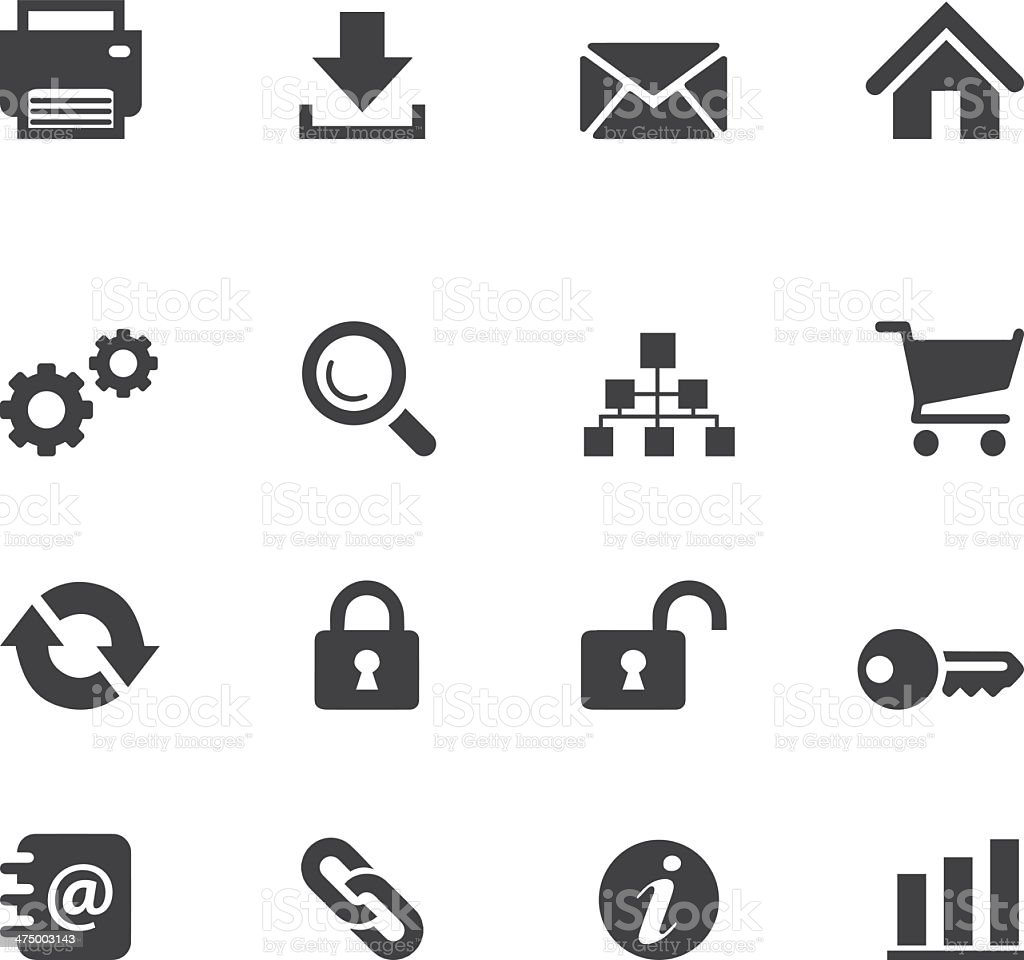 Web and Internet Silhouette icons vector art illustration