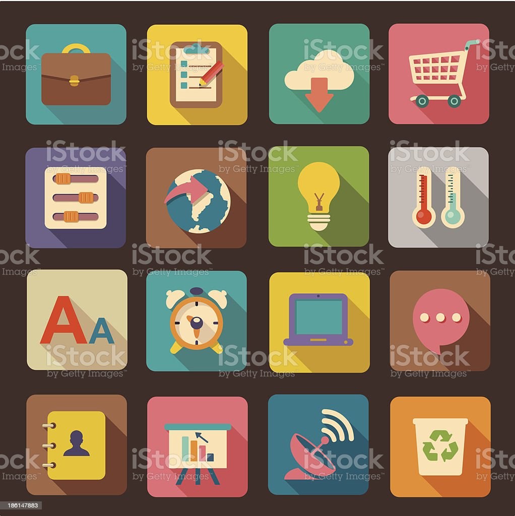 Web and mobile application icons with 3D shadow effect royalty-free stock vector art