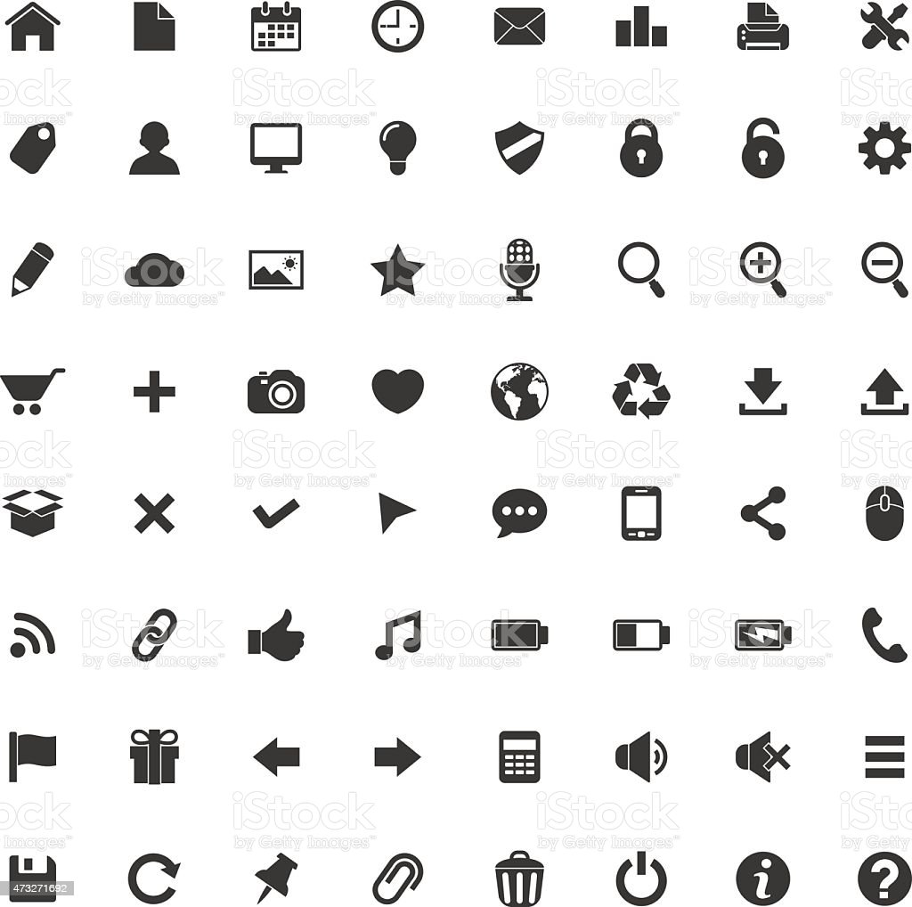 Web and Mobile Icons vector art illustration