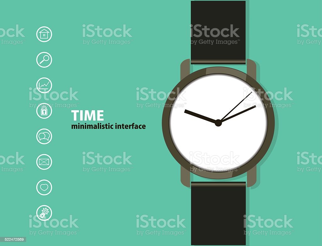 Web and mobile interface template. with a wristwatch vector art illustration