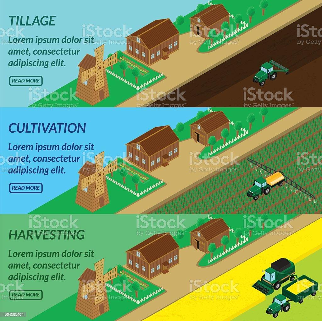 Web banner agriculture vector art illustration
