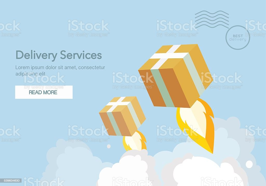 Web banner for Delivery Services and E-Commerce. Flat vector vector art illustration