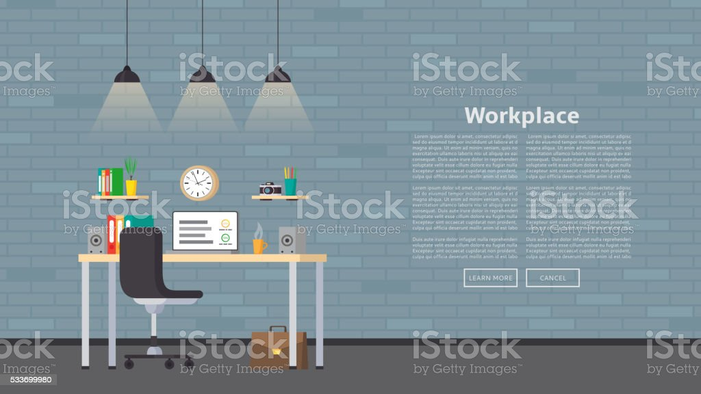 Web banner with workplace and place for text royalty-free stock vector art